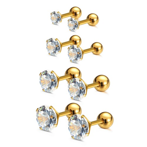 Charisma Gold Plated 3-4-5-6mm Cartilage Stud Earrings For Women Screw Back Earrings Cubic Zirconia Helix Tragus Barbell 4 Pair Set