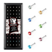 Evevil 60pcs 22G Nose Studs Rings Stainless Steel 1.5mm Colored Crystal Nose Studs Bone Hypoallergenic Piercing Jewelry Box Set